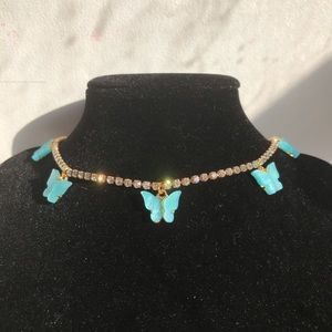 Rhinestone Blue Butterfly Choker Necklace